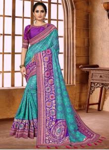 Weaving Blue Fancy Fabric Classic Designer Saree