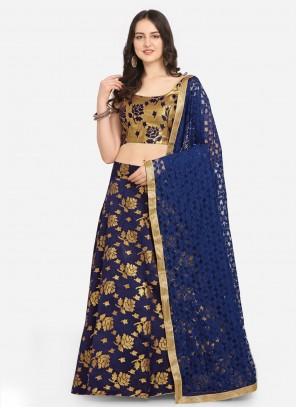 Weaving Blue Jacquard Lehenga Choli