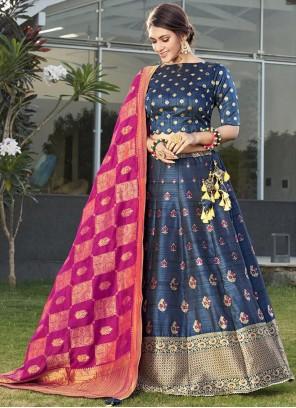 Weaving Blue Silk Designer Lehenga Choli