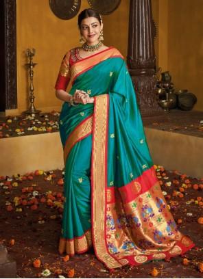 Weaving Blue Silk Designer Traditional Saree