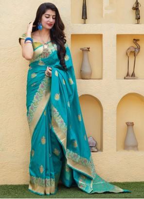 Weaving Blue Silk Trendy Saree