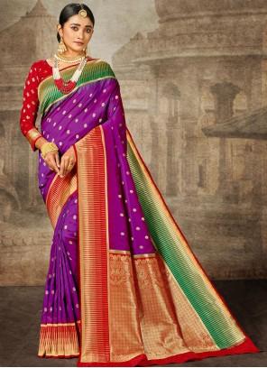 Purple Banarasi Silk Weaving Bollywood Saree
