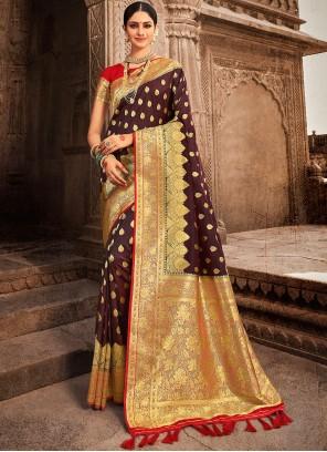 Weaving Brown Designer Traditional Saree