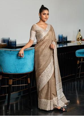 Weaving Brown Linen Traditional Saree