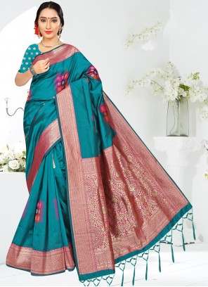 Turquoise Silk Weaving Casual Saree