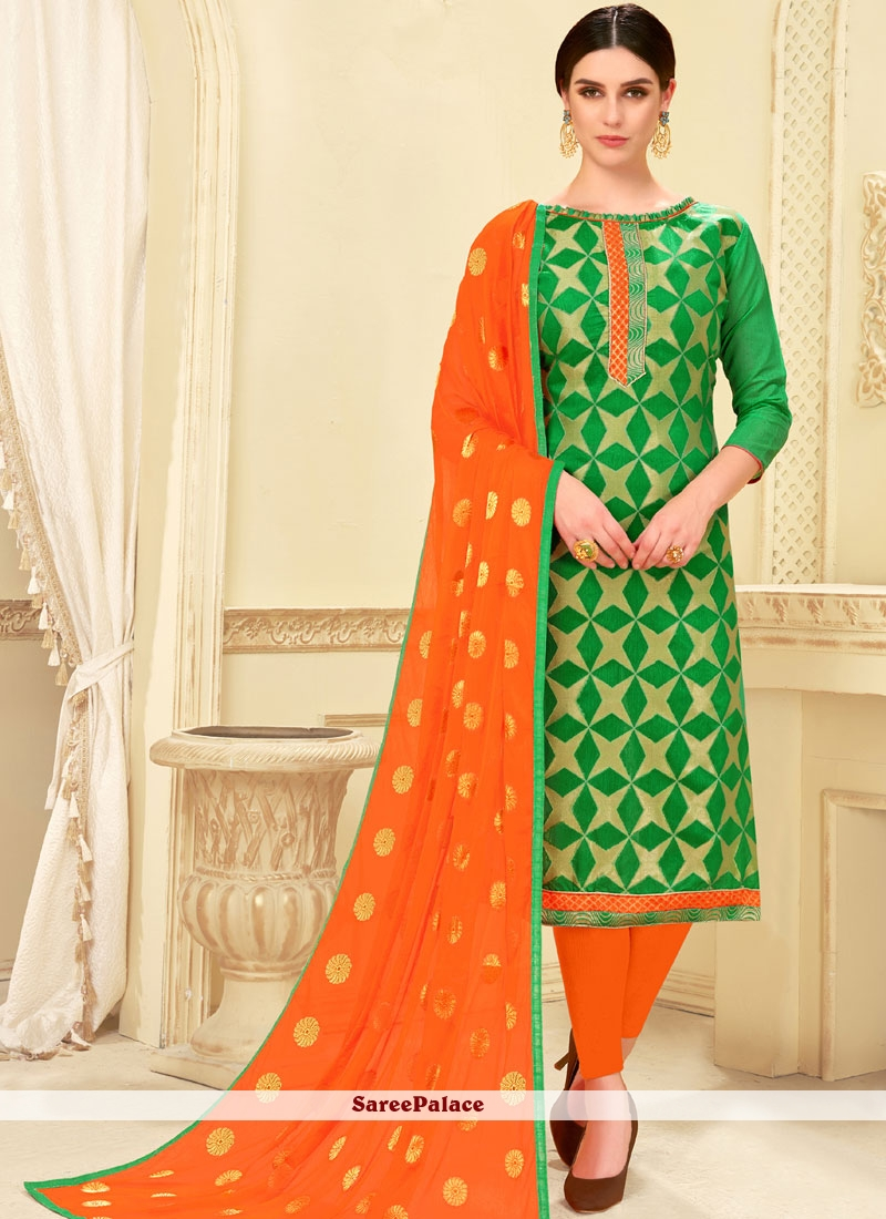 Green Weaving Casual Churidar Suit