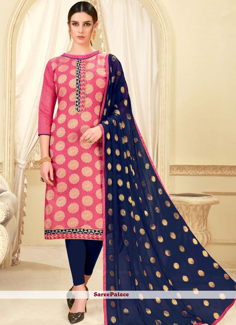 Pink Weaving Casual Churidar Suit