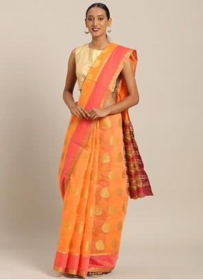 Orange Cotton Weaving Casual Saree