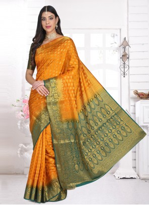 Yellow Weaving Ceremonial Designer Saree
