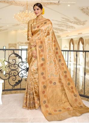 Weaving Ceremonial Beige Traditional Designer Saree