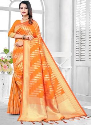 Orange Weaving Ceremonial Traditional Designer Saree