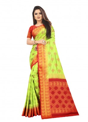 Weaving Ceremonial Light Green Traditional Saree