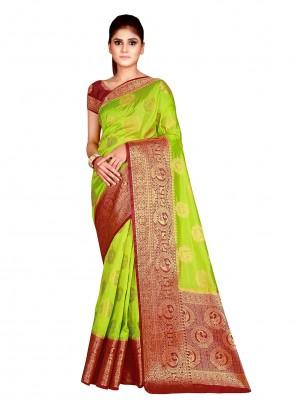 Green Weaving Ceremonial Traditional Saree