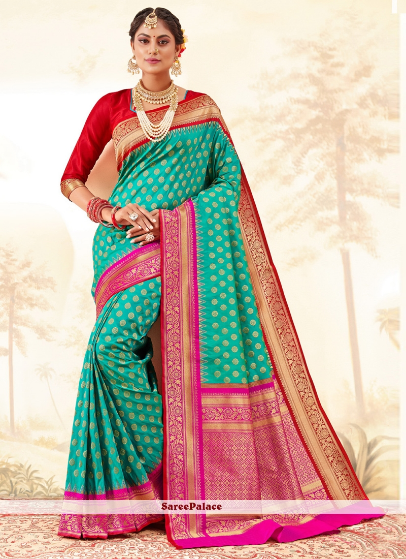 Turquoise Weaving Ceremonial Traditional Saree