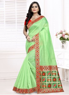Weaving Chanderi Cotton Bollywood Saree in Green