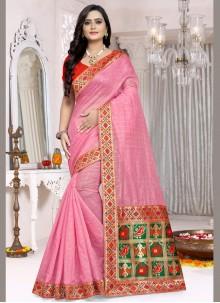 Weaving Chanderi Cotton Trendy Saree in Pink