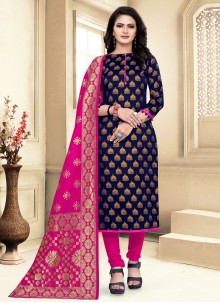 Weaving Churidar Navy Blue Salwar Suit