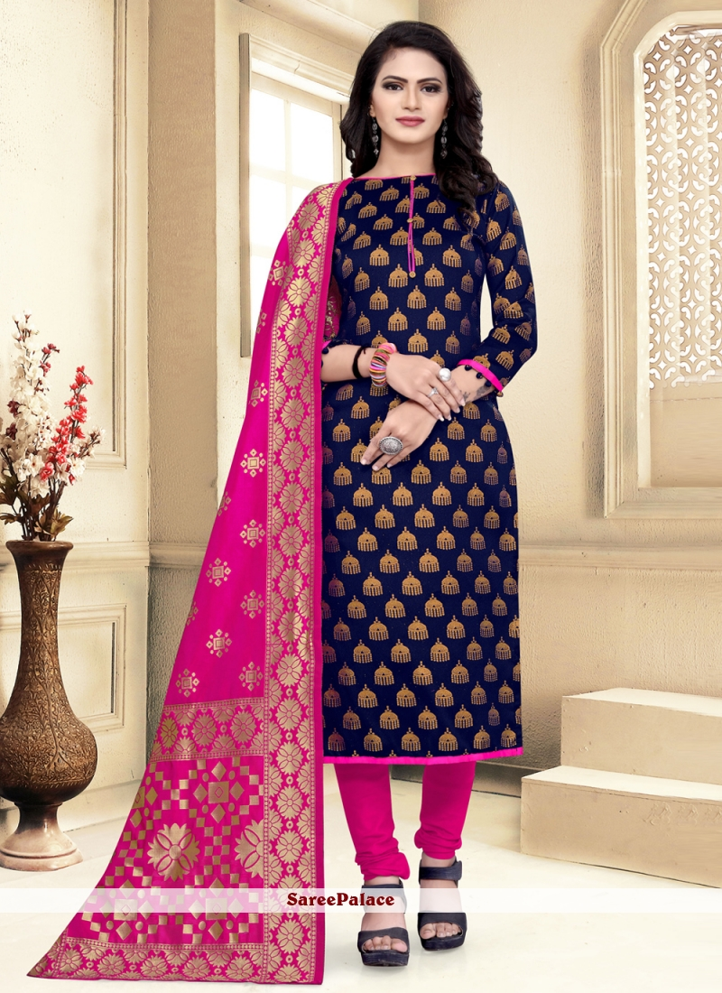 Weaving Churidar Navy Blue Salwar Suit