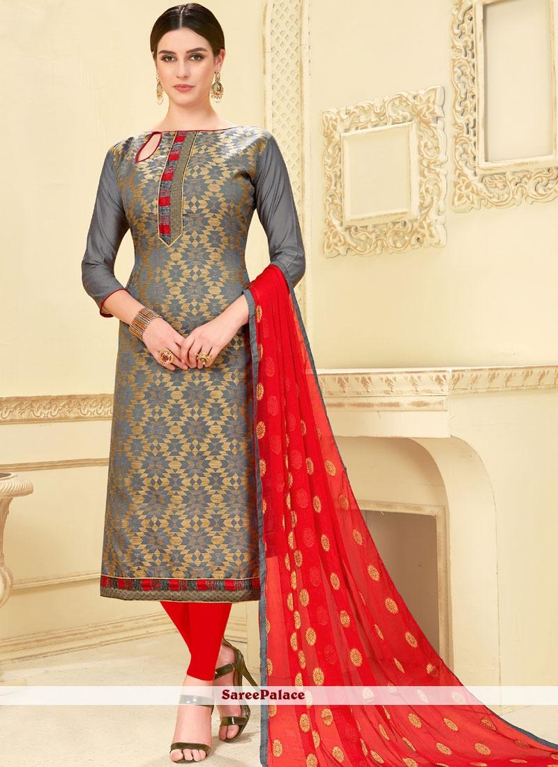 Grey Weaving Churidar Suit