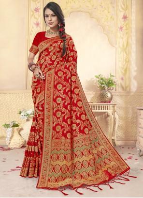 Weaving Classic Designer Red Saree
