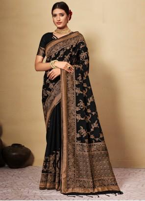 Weaving Black Classic Designer Saree