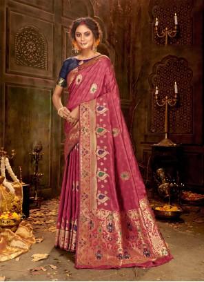 Weaving Pink Classic Saree
