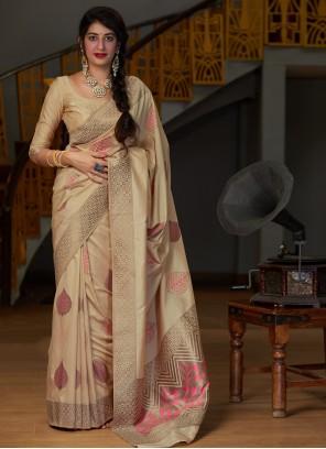 Weaving Contemporary Cream Saree