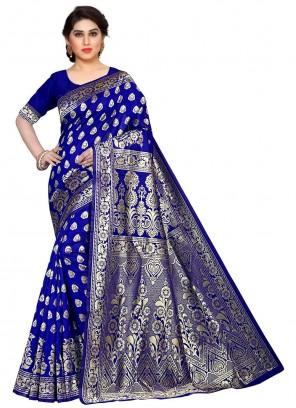 Blue Weaving Contemporary Saree