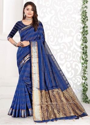 Weaving Cotton Blue Classic Saree