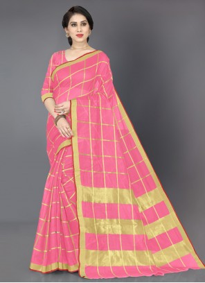 Weaving Cotton Casual Saree in Pink