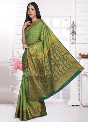 Green Weaving Cotton Silk Designer Saree