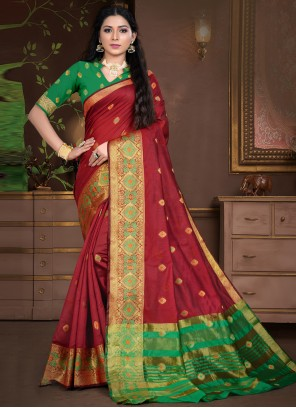 Weaving Cotton Silk Designer Traditional Saree in Maroon