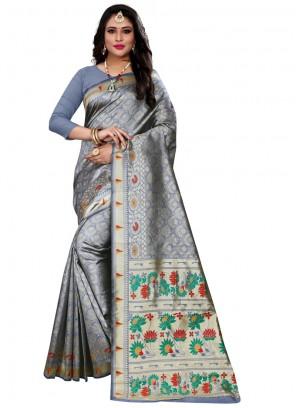 Weaving Cotton Silk Grey Classic Designer Saree