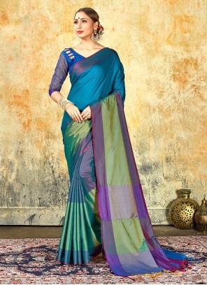 Multi Colour Weaving Cotton Silk Saree