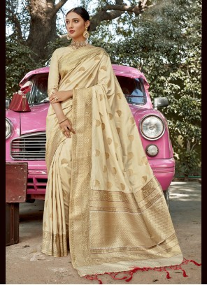 Weaving Cream Banarasi Silk Designer Traditional Saree