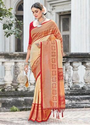 Weaving Cream Silk Traditional Designer Saree