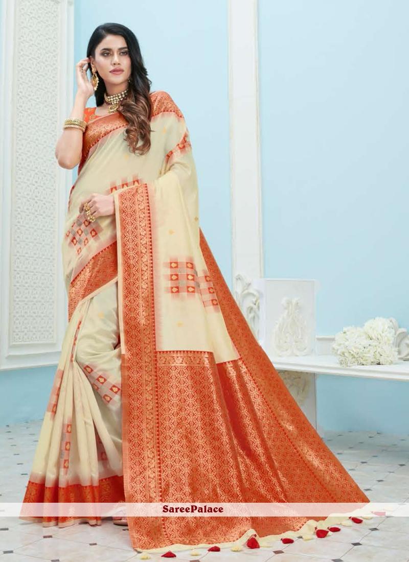 Weaving Cream Designer Saree