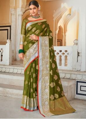 Organza Weaving Green Designer Saree