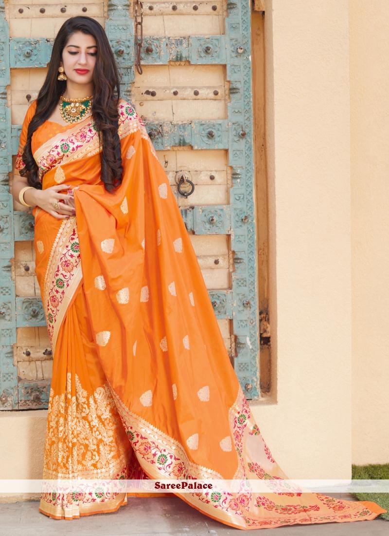Orange Silk Weaving Designer Traditional Saree