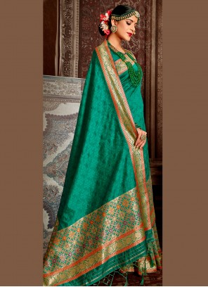 Weaving Designer Green Traditional Saree
