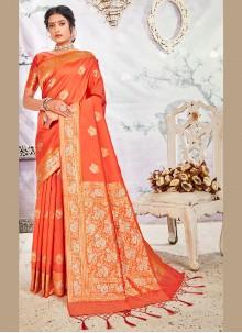Weaving Designer Orange Traditional Saree
