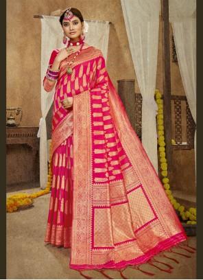 Hot Pink Weaving Designer Traditional Saree