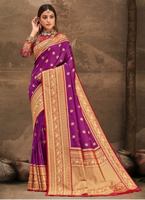 Purple Banarasi Silk Weaving Designer Traditional Saree