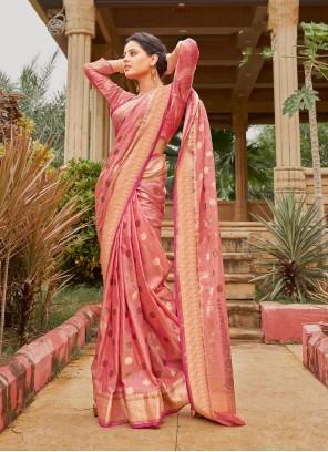 Pink Weaving Engagement Classic Saree