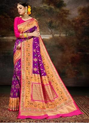 Purple Weaving Engagement Silk Saree