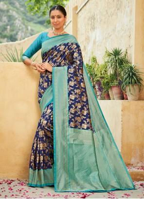 Blue Weaving Engagement Traditional Designer Saree