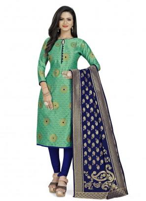 Green Weaving Fancy Fabric Churidar Suit