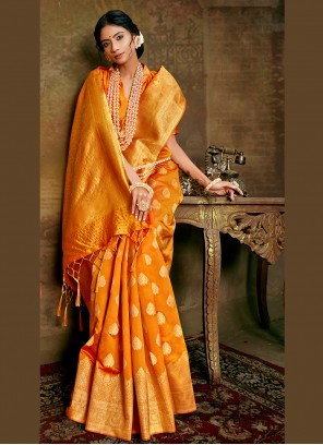 Weaving Fancy Fabric Mustard Designer Traditional Saree