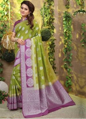 Weaving Fancy Fabric Green Designer Traditional Saree