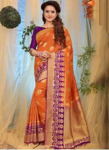 Weaving Fancy Fabric Orange Designer Traditional Saree
